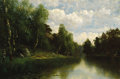Fine Art - Painting, Russian:Antique (Pre-1900), FEDOR KARLOVICH BURKHARDT (Russian/German, 1854-1918). River inthe Summer. Oil on canvas. 18 x 26-1/2 inches (45.7 x 67...