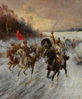 Fine Art - Painting, Russian:Antique (Pre-1900), ADOLF BAUMGARTNER-STOILOFF (Austrian, 1850-1924). Convoy of Gold in Siberia. Oil on canvas. 26-3/4 x 21-1/2 inches (67.9...