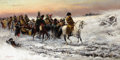 Fine Art - Painting, Russian:Modern (1900-1949), PJOTR STOJANOW (Bulgarian, 1857-1957). Napoleon Fleeing fromMoscow. Oil on canvas. 20-1/4 x 39-1/2 inches (51.4 x 100.3...