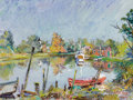 Fine Art - Painting, Russian:Modern (1900-1949), DAVID DAVIDOVICH BURLIUK (Russian/American, 1882-1967). CountryScene by the Water, 1947. Oil on canvas. 18 x 24 inches ...