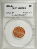 Lincoln Cents: , 1994-D 1C MS67 Red PCGS. PCGS Population (259/75). NGC Census:(95/28). Numismedia Wsl. Price for NGC/PCGS coin in MS67: $...