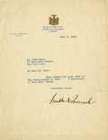 "Autographs:U.S. Presidents, Franklin D. Roosevelt: Typed Letter Signed as New York Governor..-July 5, 1932. Albany, New York. One page, 8"" x 10.5"". Sta..."
