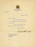 "Autographs:U.S. Presidents, Franklin D. Roosevelt: Typed Letter Signed New York Governor..-November 12, 1930, Albany, New York. One page, 8"" x 10.5"", o..."