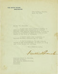 """Autographs:U.S. Presidents, Franklin D. Roosevelt: Typed Letter Signed as President.. -March28, 1938. Warm Springs, Georgia. One page, 7"""" x 9"""". White H..."""