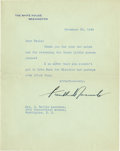 "Autographs:U.S. Presidents, Franklin D. Roosevelt: Typed Letter Signed as President.. -November29, 1940. Washington, D. C. One page, 7"" x 8.75"". White ..."