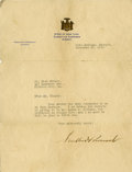 "Autographs:U.S. Presidents, Franklin D. Roosevelt: Typed Letter Signed as New York Governor..-November 26, 1930. Warm Springs, Georgia. One page, 8"" x ..."