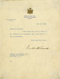 """Autographs:U.S. Presidents, Franklin D. Roosevelt: Typed Letter Signed as New York Governor..-June 13, 1932, Warm Springs, Georgia. One page, 8"""" x 10.5..."""