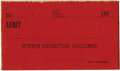 General Historic Events:World Fairs, World's Columbian Exposition: Admission Ticket without FairName....