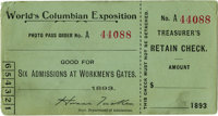 World's Columbian Exposition Workman's Daily Ticket