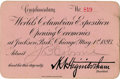 General Historic Events:World Fairs, World's Columbian Exposition: Opening Ceremonies ComplimentaryCard....