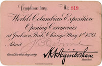 World's Columbian Exposition: Opening Ceremonies Complimentary Card