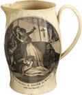 Political:3D & Other Display (pre-1896), A Scarce 1790s Liverpool Creamware Pitcher Mourning the ExecutedKing Louis XVI of France. On front is a scene of Louis stan...