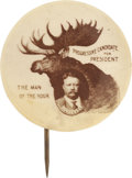 """Political:Pinback Buttons (1896-present), Theodore Roosevelt: Scarce """"Bull Moose"""" 1912 Presidential Campaign Button...."""