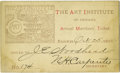 General Historic Events:World Fairs, World's Columbian Exposition: 1892 Annual Membership Ticket for The Art Institute of Chicago....