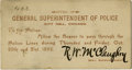 General Historic Events:World Fairs, World's Columbian Exposition: Superintendent of Police All Access Pass for the Dedication Ceremonies....
