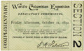 General Historic Events:World Fairs, World's Columbian Exposition: Dedication Ceremonies Ticket....
