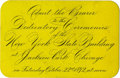 General Historic Events:World Fairs, World's Columbian Exposition: Dedication Ceremonies - New York State Building Admission Ticket....