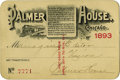 General Historic Events:World Fairs, World's Columbian Exposition: Ticket for the Managing Editor of Palmer House. ...