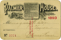 World's Columbian Exposition: Ticket for the Managing Editor of Palmer House