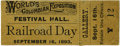 General Historic Events:World Fairs, World's Columbian Exposition: Festival Hall Railroad Day Ticket....
