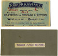 General Historic Events:World Fairs, World's Columbian Exposition: Canvas Ticket Holder, DedicationCeremony Ticket, and Berth Ticket....