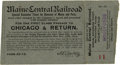 General Historic Events:World Fairs, World's Columbian Exposition: Special Excursion Ticket for theGovernor of Maine....
