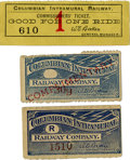 General Historic Events:World Fairs, World's Columbian Exposition: Three Tickets for The World'sColumbian Intramural Railway.... (Total: 3 Items)