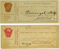 General Historic Events:World Fairs, World's Columbian Exposition: Two John Bull Train Tickets....(Total: 2 Items)