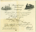 General Historic Events:World Fairs, World's Columbian Exposition: Large Pennsylvania Railroad CompanyEngraved Invitation for Eugene Field....