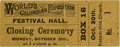 General Historic Events:World Fairs, World's Columbian Exposition: Festival Hall Ticket....
