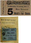 General Historic Events:World Fairs, World's Columbian Exposition: Pair of Rare and Very Desirable MusicTickets, including:... (Total: 2 Items)