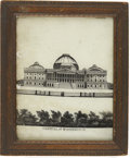 Political:3D & Other Display (pre-1896), Capitol at Washington: Reverse Glass Clock Panel, ...