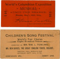 General Historic Events:World Fairs, World's Columbian Exposition: Another Pair of Rare and Very Desirable Music Tickets. ... (Total: 2 Items)