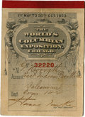 General Historic Events:World Fairs, World's Columbian Exposition: Ticket Book Cover with Photo....