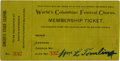 General Historic Events:World Fairs, World's Columbian Exposition: Festival Chorus Membership Ticket....