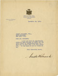 """Autographs:U.S. Presidents, Franklin D. Roosevelt: Typed Letter Signed as New York Governor..-December 20, 1930. Albany, New York. One page, 8"""" x 10.5""""..."""