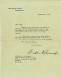 Autographs:U.S. Presidents, Franklin D. Roosevelt: Typed Letter Signed as President.. -February 7, 1939. Washington, D.C. One page, White House letterhe...