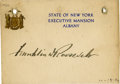 """Autographs:U.S. Presidents, Franklin D. Roosevelt: Card Signed as New York Governor.. -No date [10-19-32]. No place. 4.5"""" x 3.25"""". State of New York Exe..."""