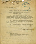 Autographs:U.S. Presidents, Franklin D. Roosevelt: Typed Letter Signed as Acting Secretary ofthe Navy.. -August 23, 1919. Washington, D.C. Two pages, f...