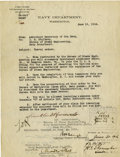 "Autographs:U.S. Presidents, Franklin D. Roosevelt: Typed Letter Signed ""FDR"" asAssistant Secretary of the Navy . -June 19, 1916. Washington..."