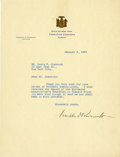 """Autographs:U.S. Presidents, Franklin D. Roosevelt: Typed Letter Signed as New York Governor..-January 9, 1929. Albany, New York. One page, 8"""" x 10.5"""". ..."""