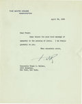 "Autographs:U.S. Presidents, Franklin D. Roosevelt: Typed Letter Signed ""FDR"" asPresident.. -April 28, 1936. Washington, D.C. One page, 7"" x..."