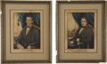 "Political:Posters & Broadsides (pre-1896), Lincoln & Hamlin: Matching Kellogg Hand-Colored Lithographs of the 1860 Republican Candidates, 11"" x 14"" and each in a gilt ... (Total: 2 Items)"