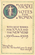 Political:Small Paper (1896-present), W.S.P.U. 1908 Christmas and New Year Card.... (Total: 2 Items)