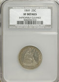 Seated Quarters: , 1869 25C --Improperly Cleaned--NCS. XF Details. NGC Census: (0/13).PCGS Population (2/12). Mintage: 16,000. Numismedia Wsl....