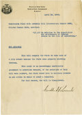 """Autographs:U.S. Presidents, Franklin D. Roosevelt: Typed Document Signed as New York Governor..-April 14, 1930. Albany, New York. One page, 8"""" x 10.5""""...."""