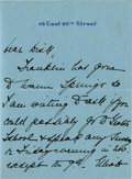 "Autographs:U.S. Presidents, Eleanor Roosevelt: Autograph Letter Signed to Explorer Richard E.Byrd.. -October 1 [1926]. New York. Three pages. 4"" x 5.5""..."