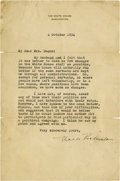 "Autographs:U.S. Presidents, Eleanor Roosevelt: Typed Letter Signed as First Lady.. -October 4,1934. Washington, D.C. One page. 6"" x 9"".. -To: Mrs. Here..."
