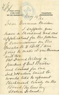 Autographs:U.S. Presidents, James Roosevelt [Sr.] Autograph Letter Signed & Sara RooseveltAutograph Note Signed.. James: . -May 14, 1896. Hyde Park on ...(Total: 2 Items)