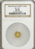 California Fractional Gold: , 1854 50C Liberty Round 50 Cents, BG-431, Low R.5, AU58 NGC. NGCCensus: (0/3). PCGS Population (13/33). (#10467)...